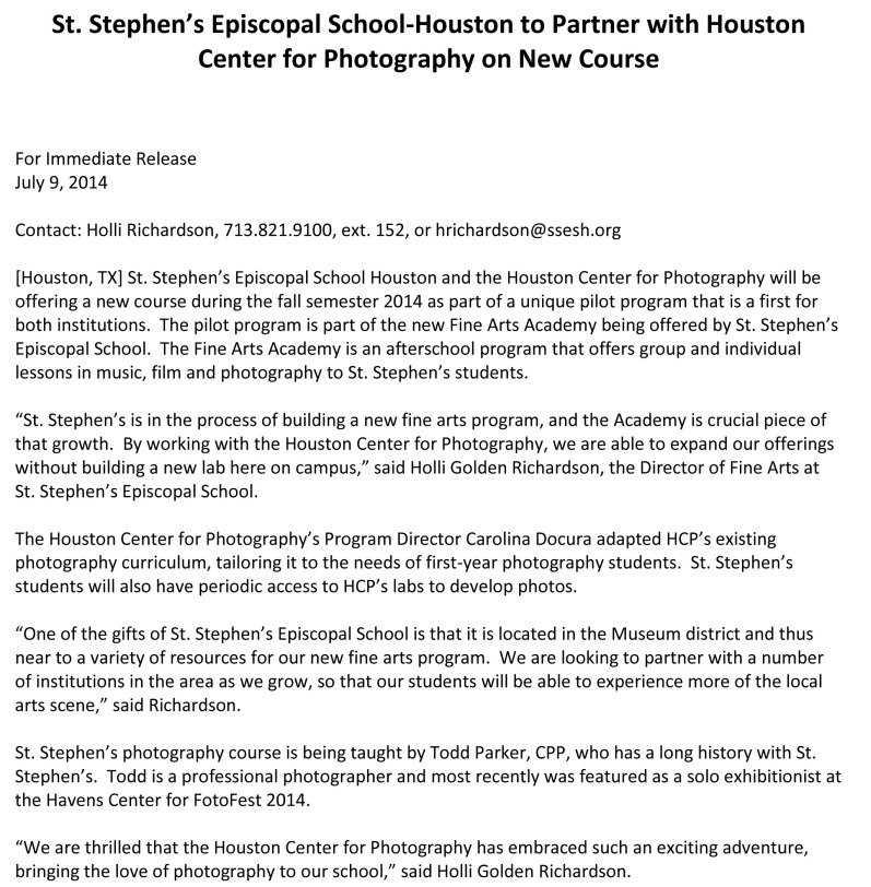 2014-07-09 St Stephens & HCP Press Release